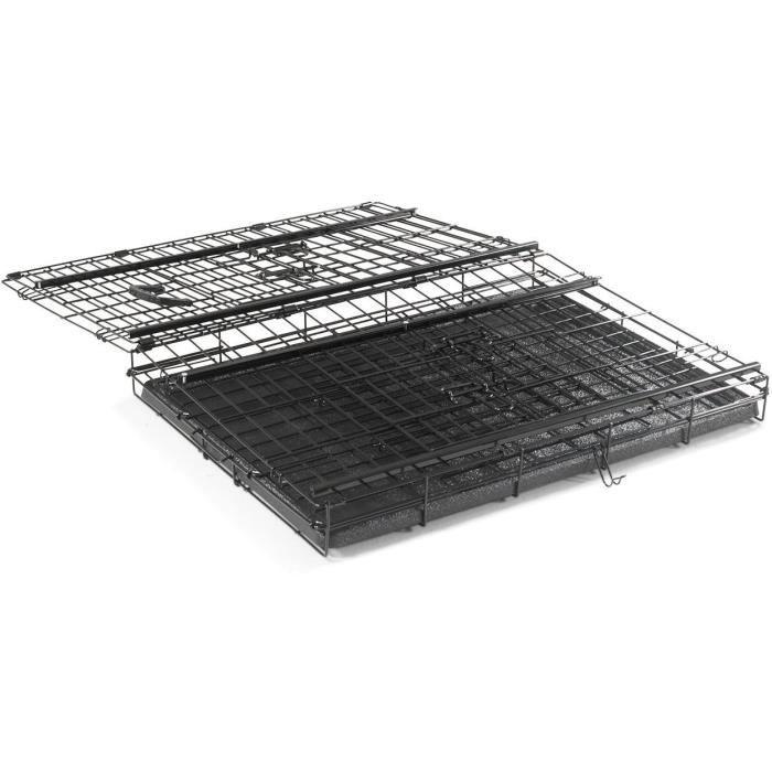 VADIGRAN Cage métallique pliable Premium - 76 x 53 x 61 cm - Noir - Pour chien