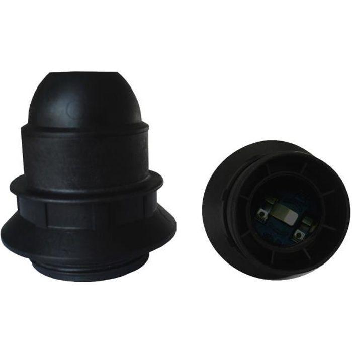 Portalampada E27 singolo anello in termoplastico nero