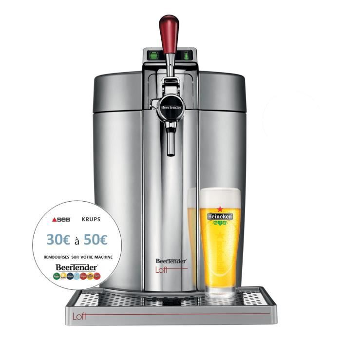 KRUPS Dispenser di birra Beertender - VB700E00 - Compatibile con fusti da 5 L - Cromato