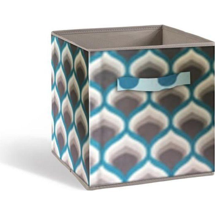 Cassetto portaoggetti COMPO - Tessuto - 27 x 27 x 28 cm - fantasia anni '70 - Blu e grigio