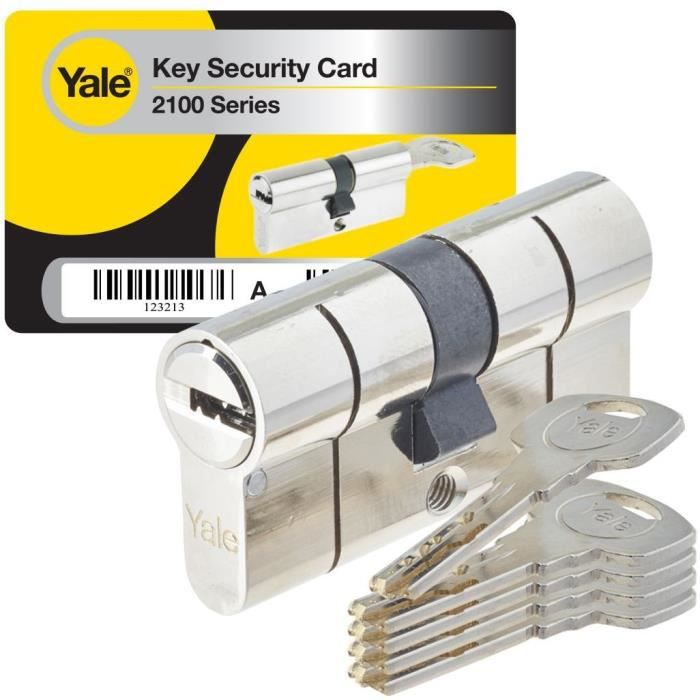 YALE Cilindro ad alta sicurezza serie 2100 30x40 mm nichelato, anti-picking, anti-foratura e anti-bumping, 5 chiavi