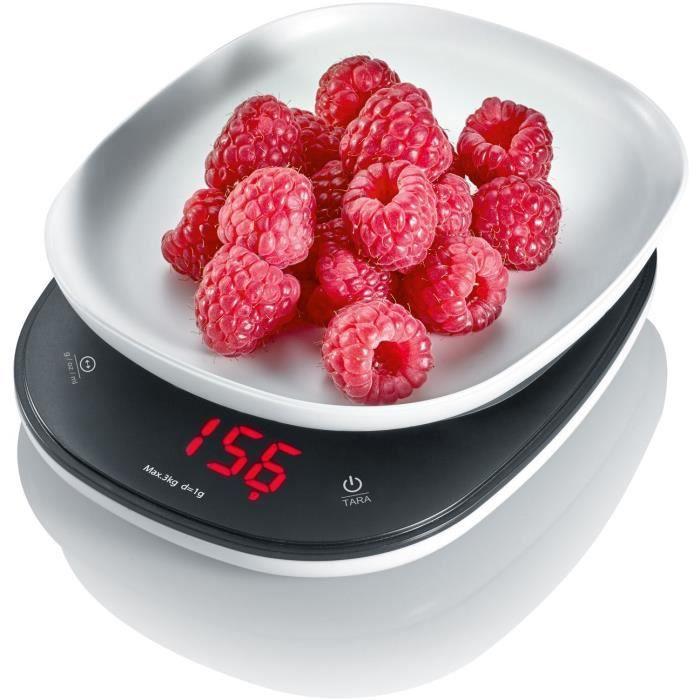 SEVERIN KW3670 Bilancia da cucina compatta, larghezza 14 cm, 3 unità di pesatura, precisione in incrementi da 1 g fino a 3 kg, display a LED