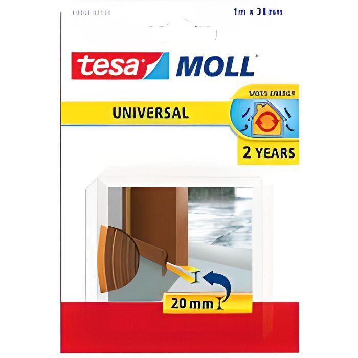 TESA Guarnizione adesiva porta inferiore - Schiuma PVC - 1 mx 38 mm - Marrone