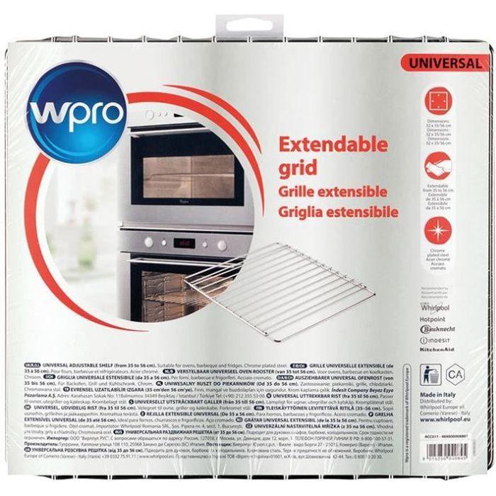 Wpro Griglia estensibile in acciaio inox cromato per forni e frigoriferi - larghezza regolabile da 35 a 56 cm