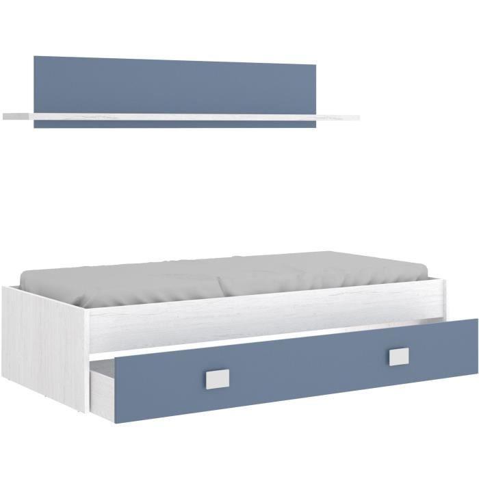 Lit enfant avec tiroir  + 1 étagere - Chene blanc/bleu - 90x190 cm - NOA