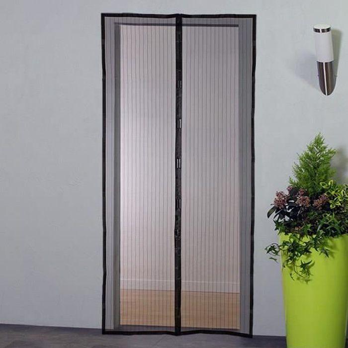 Tenda zanzariera per porta magnetica - H230 cm x L100 cm - Poliestere nero