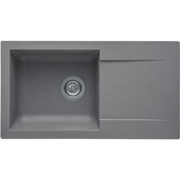 STRADOUR EINNA lavello incasso, in SMC GRIS BETON - 16, 1 vasca, dim.78 * 43,5 cm, piletta manuale