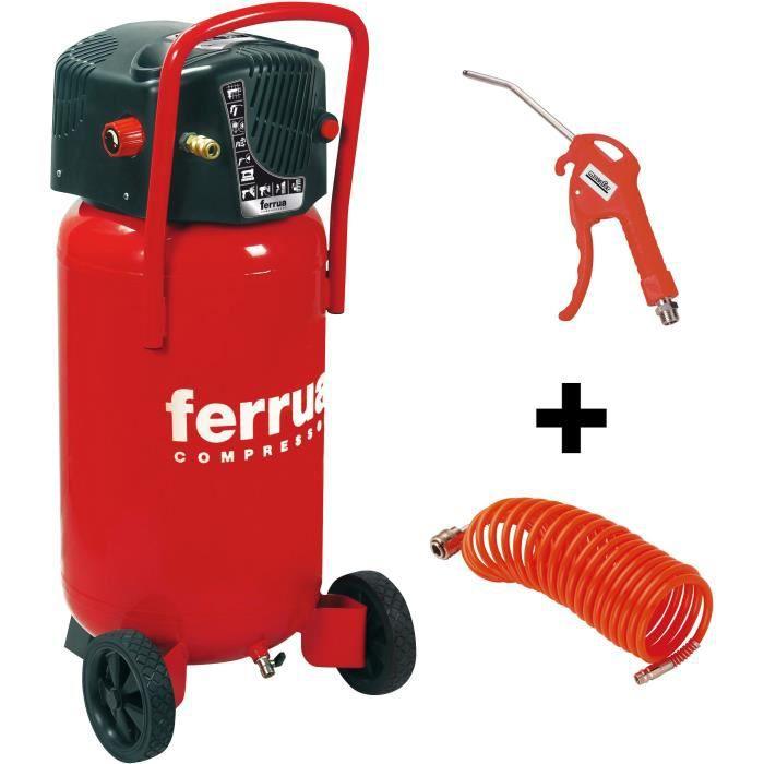 FERRUA Compressore d'aria verticale 50L senza olio 2CV 10 bar Accessori