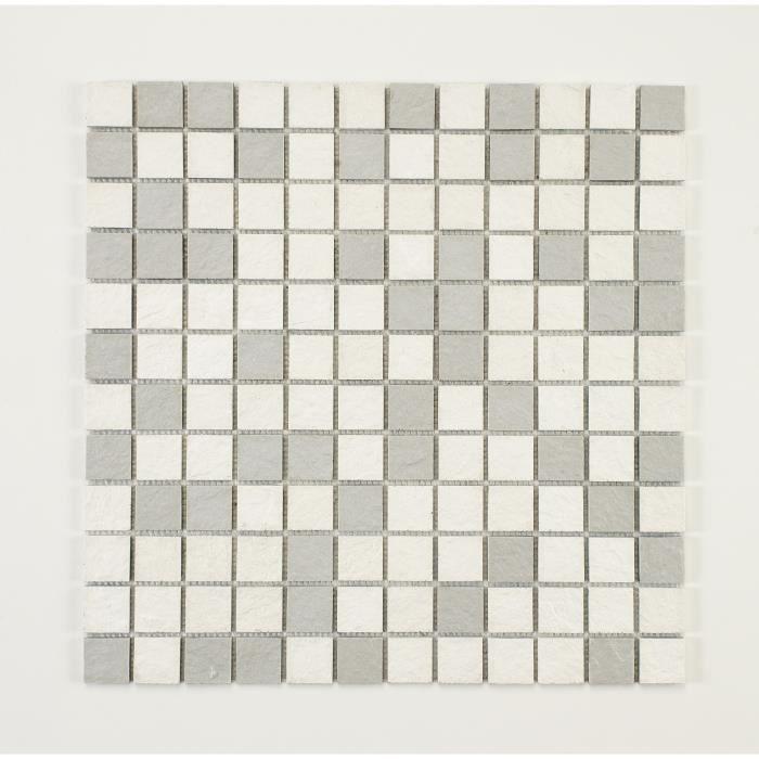U-TILE Mosaico in resina finta pietra 100 x 50 cm - Piastrella 2,5 x 2,5 cm - Bianco misto e grigio chiaro