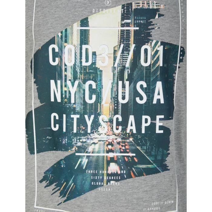 DISSIDENT T-Shirt City NYC USA Gris Homme