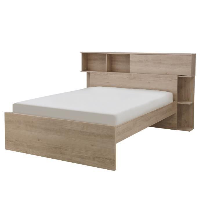 GAMI Calvi Lit adulte + Tete de lit avec rangement  1 Porte - Décor chene - 140x190 cm