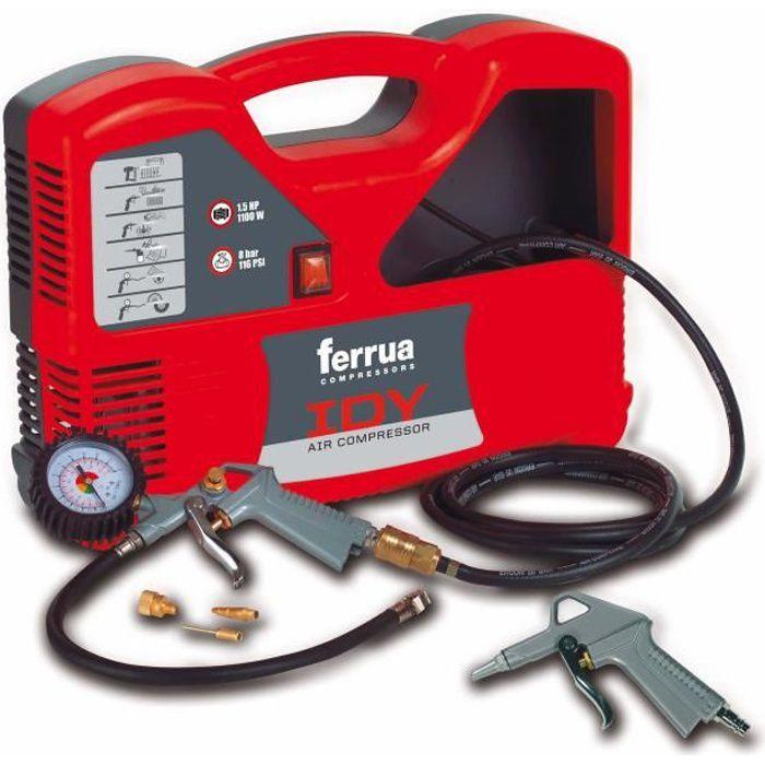 Besole000 Idy 1.5 HP 1100 W compressore d'aria oil-free con accessori inclusa maniglia di gonfiaggio approvata CE