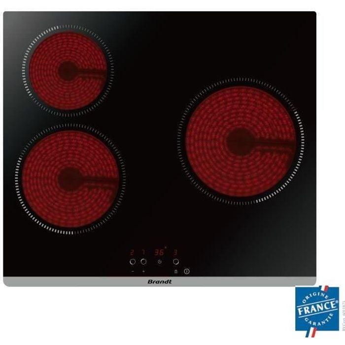 BRANDT BPV6320 Piano cottura in vetroceramica - 3 zone - 5300W - L60cm - Rivestimento in vetro - Nero