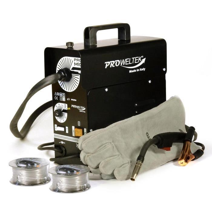 Saldatrice PROWELTEK PROMIG100 - Fornita con 2 bobine di filo animato Ø 0,9 mm e guanto da saldatore resistente al calore