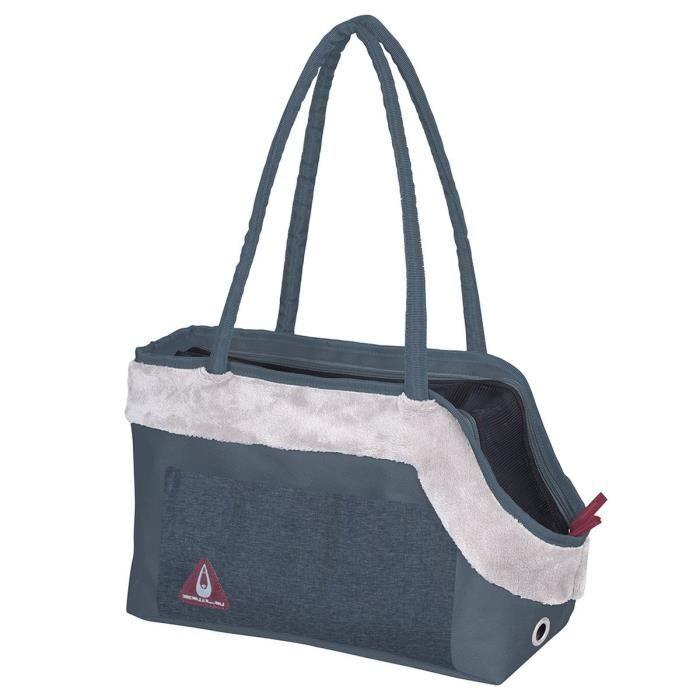 DUVO+ Sac de transport Paris Pet Bag Chic - Bleu - 40 x 19 x 26 cm - 0,59 kg - Pour chien