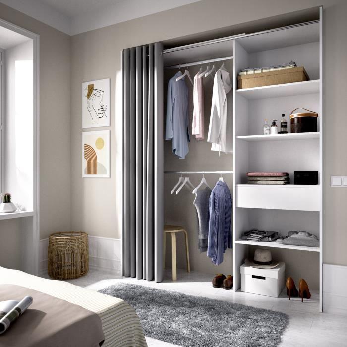 Dressing extensible avec rideau + 1 tiroir - Décor Blanc - L 160-113 x P 50 x H 205 cm - SUIT
