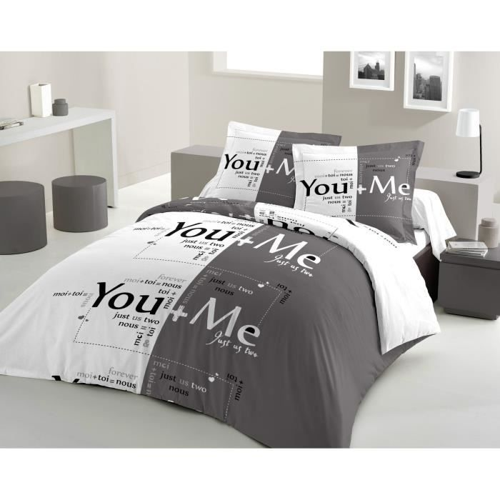 LOVELY HOME Parure de couette You & Me 100% coton - 1 housse de couette 220x240cm + 2 taies d'oreillers 65x65cm anthracite et blanc