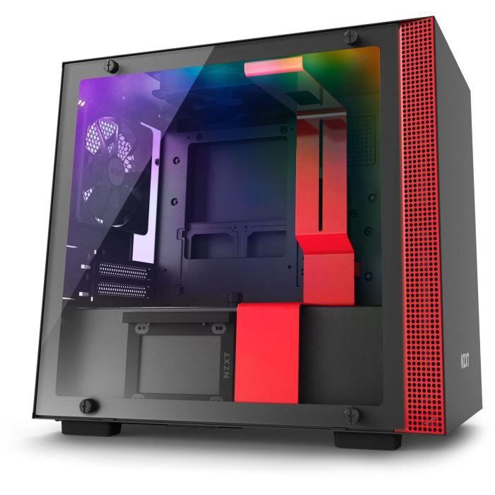 NZXT PC BOX H200i - Retroilluminazione RGB - Nero / Rosso - Vetro temperato - Formato Mini ITX (CA-H200W-BR)