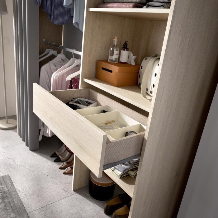 Dressing extensible avec rideau + 1 tiroir - Décor chene naturel - L 160-113 x P 50 x H 205 cm - SUIT