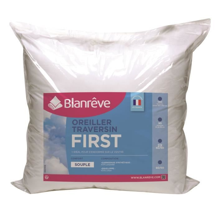 BLANREVE Lot 2 oreillers FIRST 60x60cm