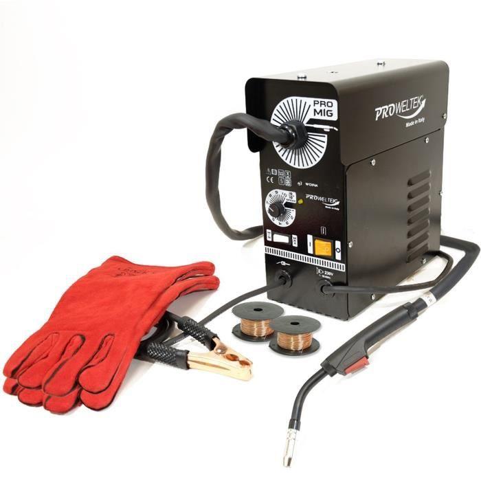 PROWELTEK Saldatrice semiautomatica mig no gaz promig Confezione da 100 guanti anti-calore 2 bobine di filo animato