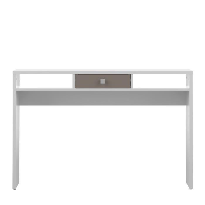 LINE Console - Contemporain - Mélaminée blanc et taupe - L 120 cm