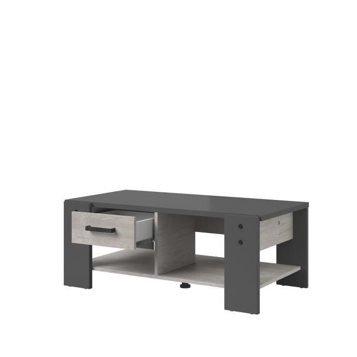 PARISOT Table basse 1 tiroir - Décor gris - L 101 x P 40 x H 54cm - LOFT