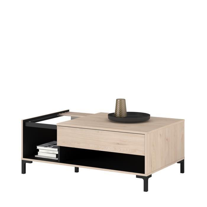 PARISOT Table basse plateau en verre 1 Tiroir - Décor Chene Jackson et Noir - LXHXP: L 110 x P 67 x 42.5 cm - TOKYO