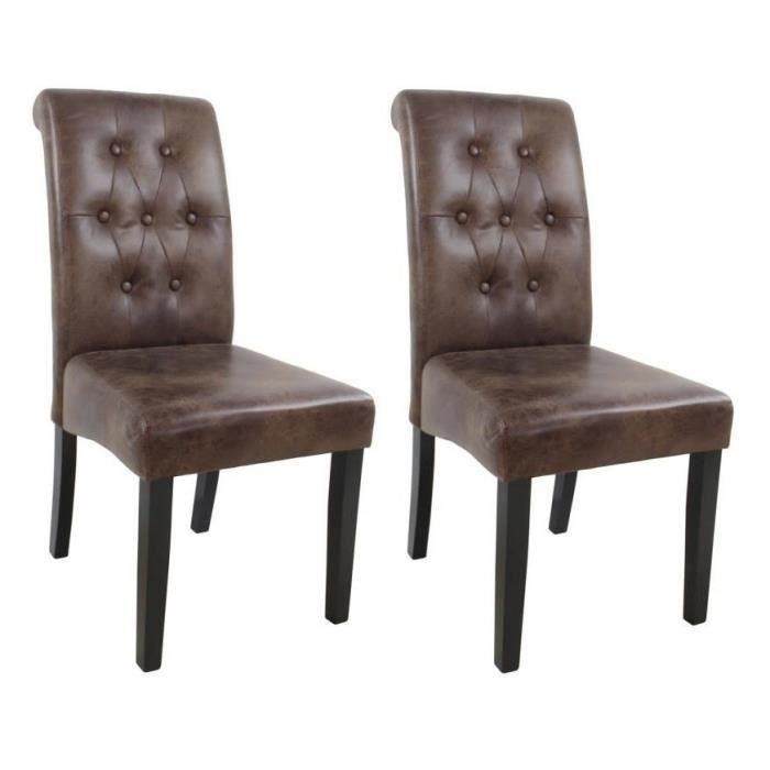 CUBA Lot de 2 chaises de salle a manger - Tissu marron - Style contemporain - L 45 x P 60 cm