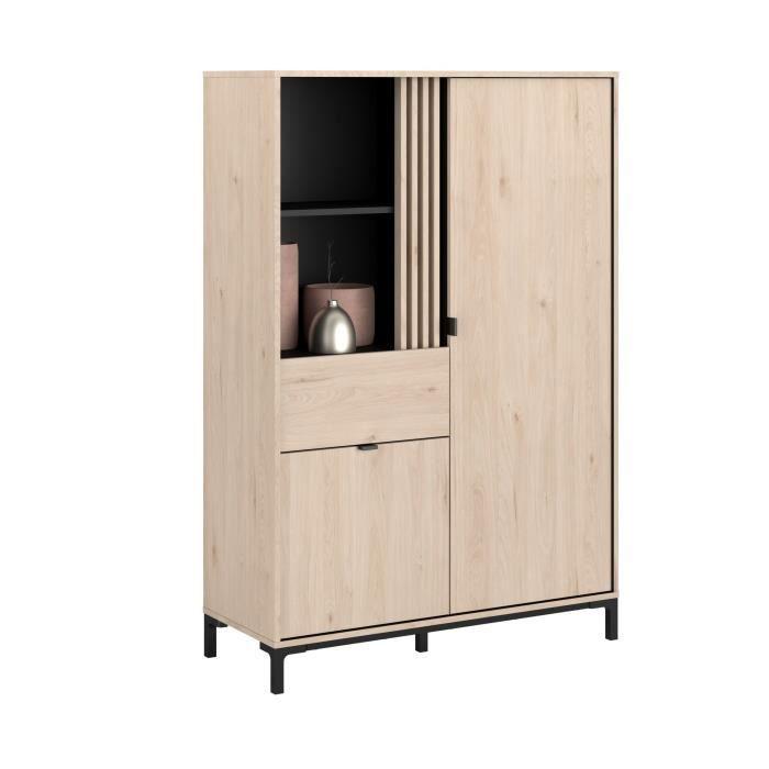 PARISOT Bahut haut 2 portes 1 tiroir - Décor chene Jackson et noir - L 101 x P 40 x H 148 cm - TOKYO