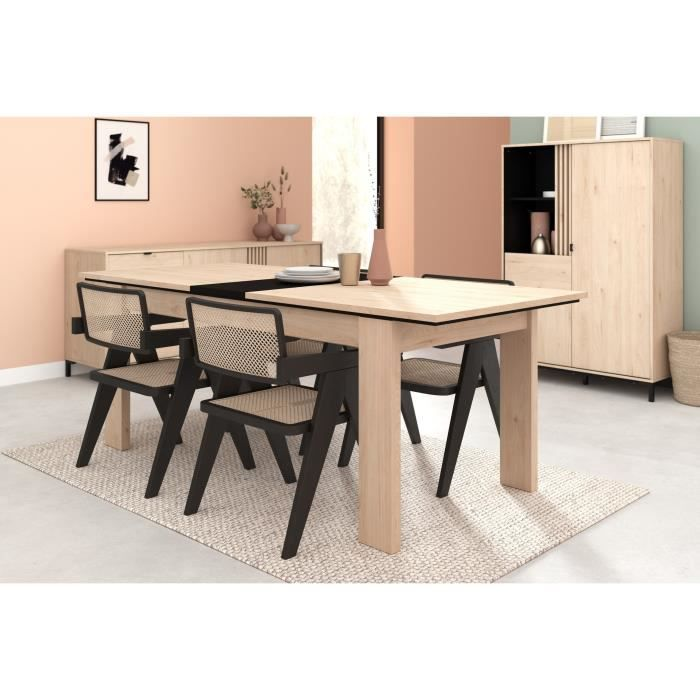 PARISOT Table a manger avec rallonge - Décor chene Jackson et noir - L 180/215 x P 78 x H 90 cm - TOKYO