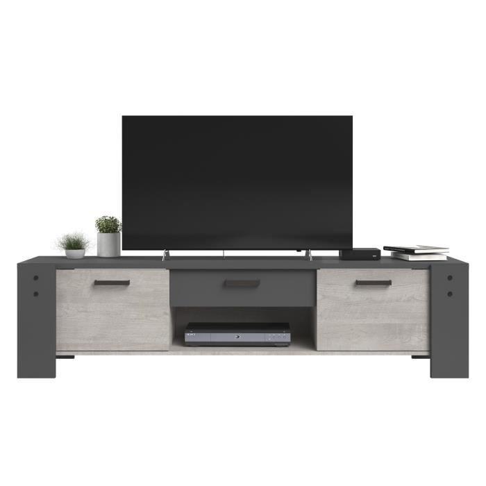 PARISOT Meuble TV 2 portes 1 tiroir - Décor gris - L 180 x P 45 x H 44 cm - LOFT