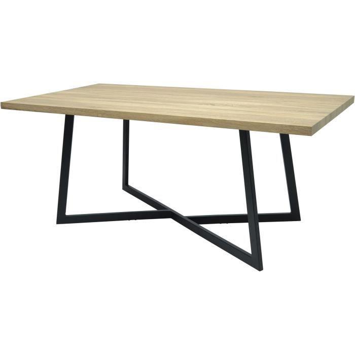 DONNA Table a manger de 8 a 10 personnes - Industriel - Aspect bois verni - L 180 x l 90 cm