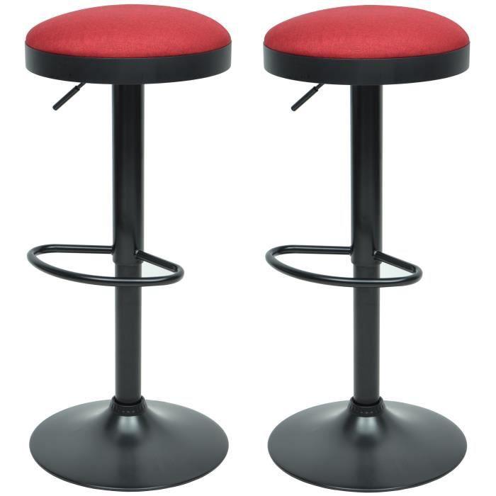 GASOLINE Lot de 2 tabourets de bar - Tissu rouge - Classique - L 38,5 x P 38,5 cm