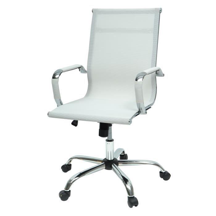 LAW Chaise de bureau - Tissu blanc - Style contemporain - L 57 x P 77 cm