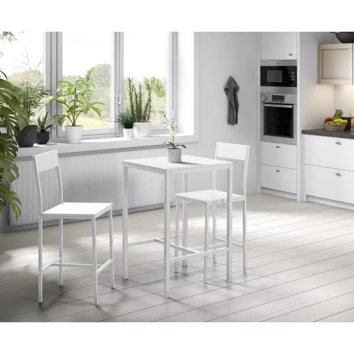 MANIRA Ensemble table bar de 2 personnes + 2 chaises - Style contemporain - Blanc laqué - L 60 x l 60 cm