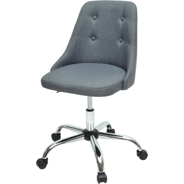 SIGMA Chaise de bureau - Simili et tissu gris  - Style contemporain - L 45,5 x P 47,5 cm