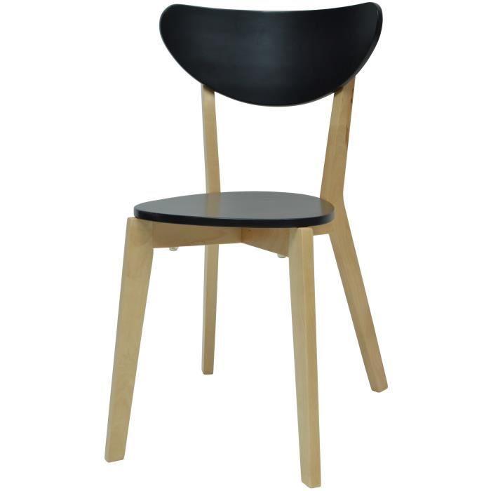 SMILEY Chaise de salle a manger en bois coloris bois naturel et noir - Scandinave - L 37,5 x P 39,5 cm