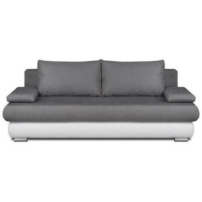 CLYDE Banquette convertible 3 places - Tissu gris et simili blanc - Style contemporain - L 187 x P 94 cm