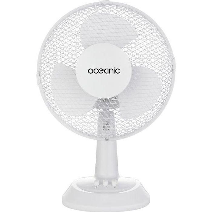 Besole000 Ventilatore da tavolo - 25 watt - Diametro 23 cm - 2 velocità - Oscillante - Bianco