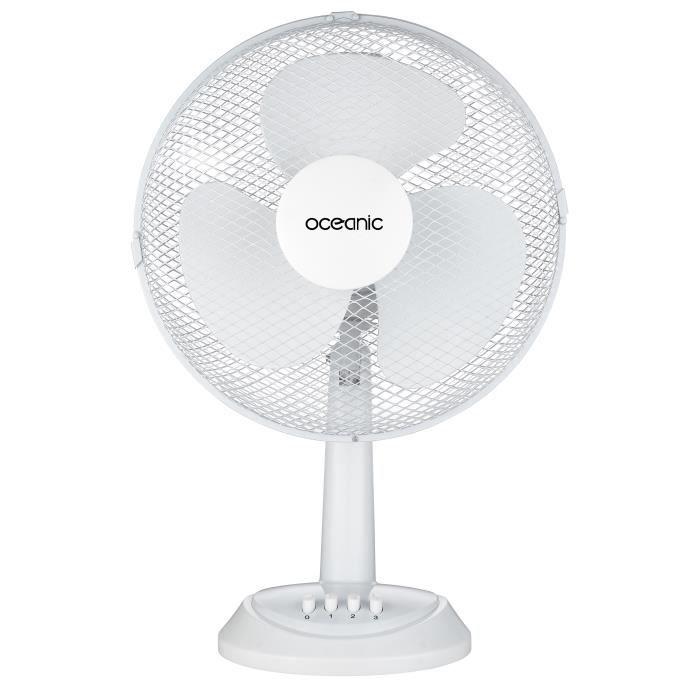 Besole000 Ventilatore da tavolo - 35 watt - Diametro 30 cm - 2 velocità - Oscillante - Bianco