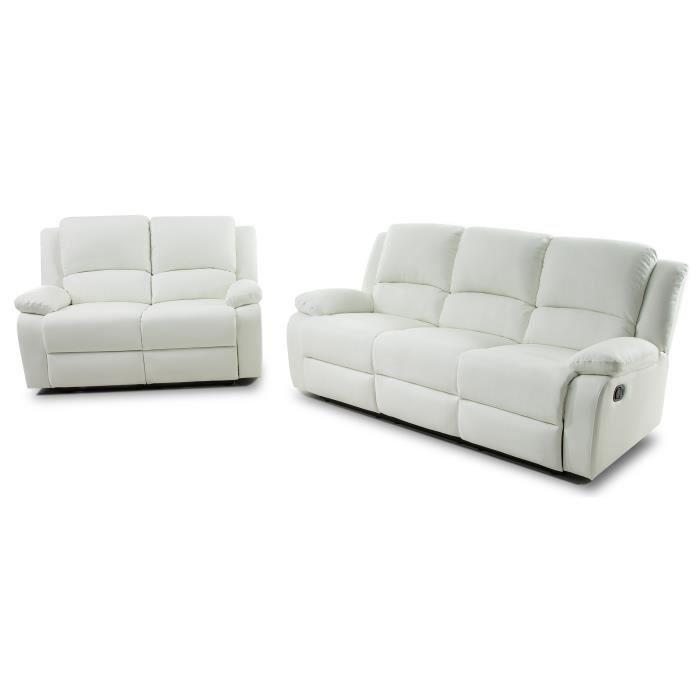 RELAX Ensemble de 2 canapés de relaxation droit 3 + 2 places - Simili blanc - Contemporain - L 190 et 144 x P 93 cm