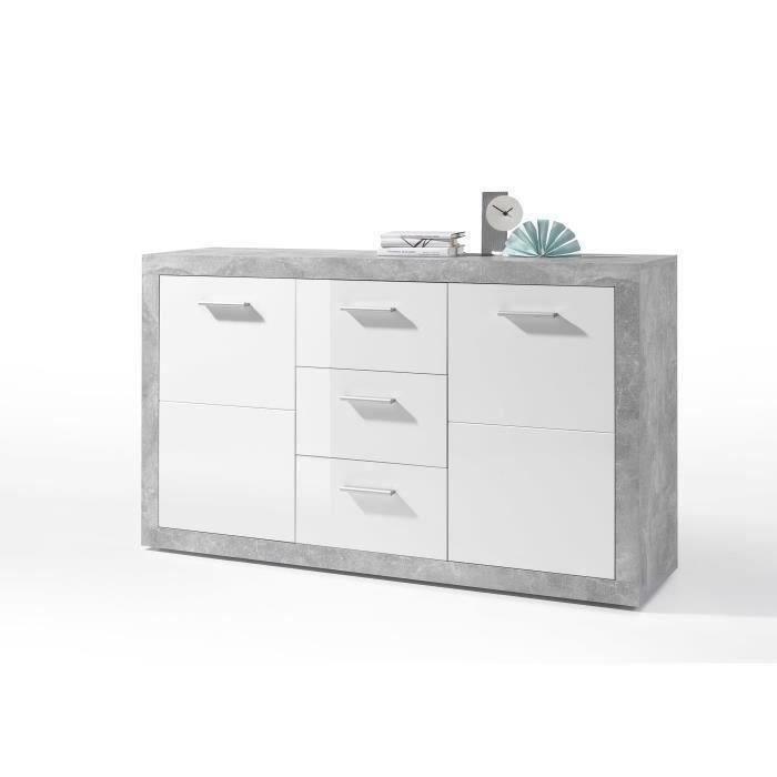 STONE Buffet contemporain décor béton et blanc brillant - L 147 cm