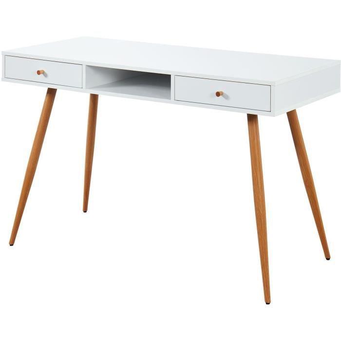 ANNETTE Bureau scandinave blanc + pieds en métal aspect bois - L 120 cm