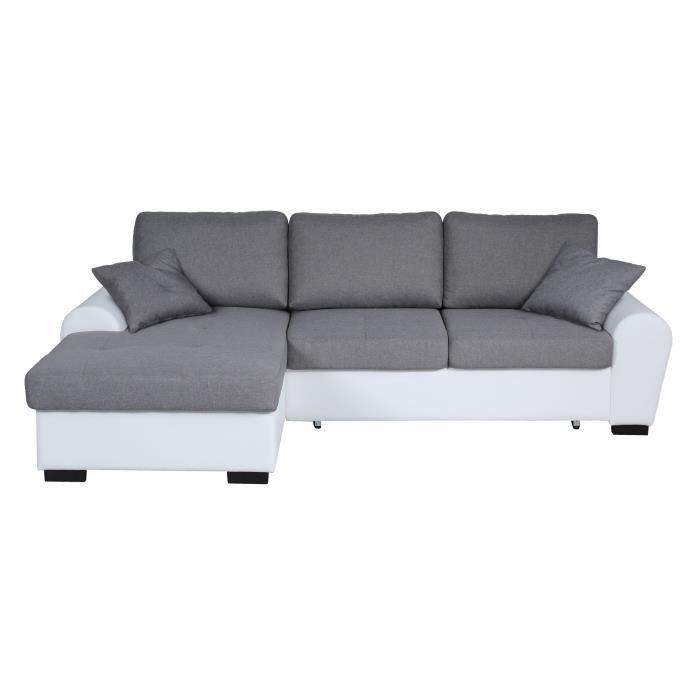 JENA Canapé d'angle gauche convertible 3-4 places + Coffre de rangement - Tissu gris clair et simili blanc - L 248 x P 173 cm