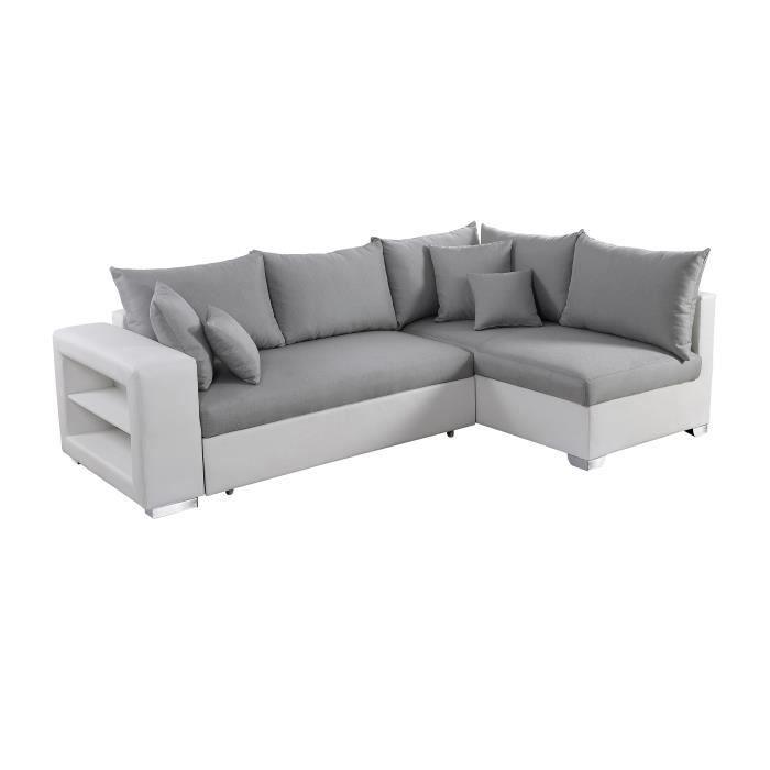 VALENCIA Canapé d'angle droit convertible 5 places - Tissu gris et simili blanc - Contemporain - L 255 x P 165 cm