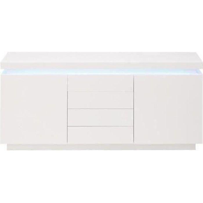 FLASH Buffet bas avec LED contemporain blanc laqué brillant - L 175 cm