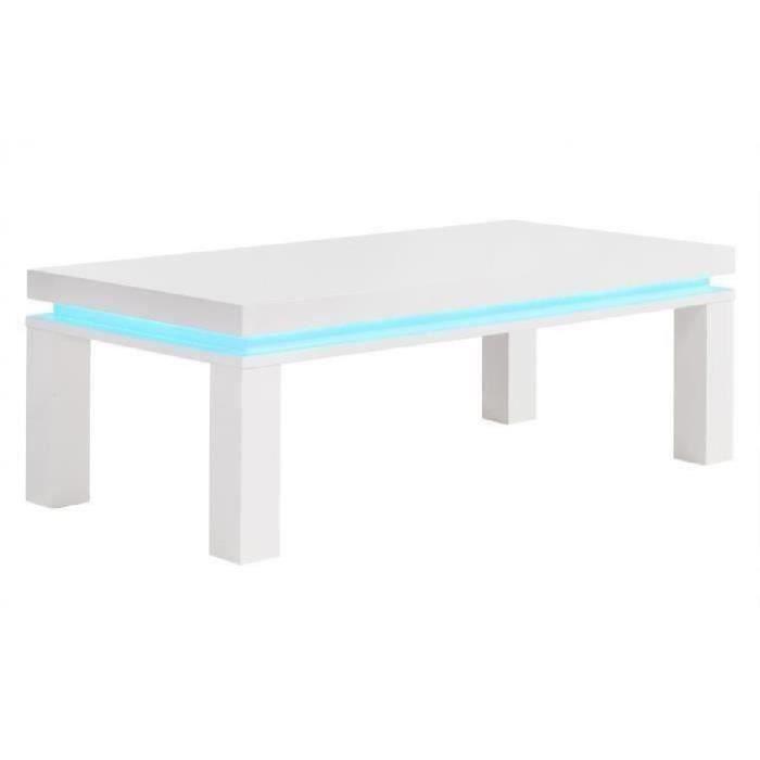 FLASH Table basse avec LED bleu 120x60 cm - Laqué blanc brillant