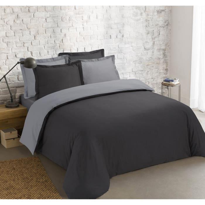 VISION Parure de couette Bicolore 100% coton - 1 housse de couette 240x260 cm + 2 taies 65x65 cm gris et anthracite