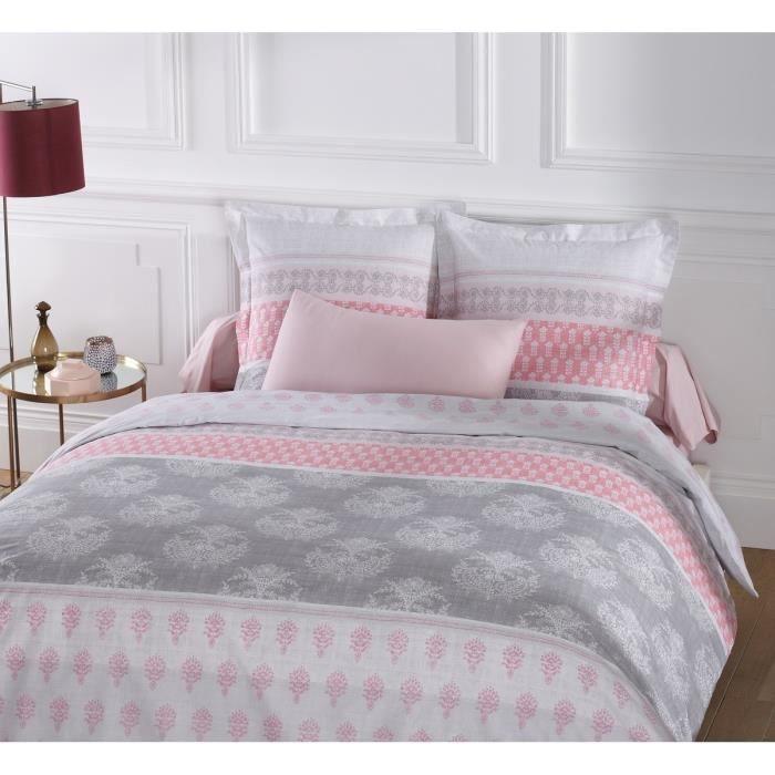 VISION Parure de couette ROMANE 100% coton - 1 housse de couette 240x260 cm + 2 taies d'oreiller 65x65 cm blanc et rose